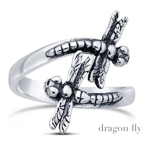 Solid Sterling Dragon Fly Wrap Ring