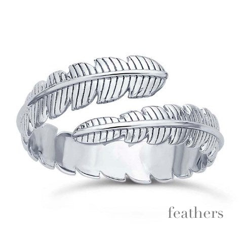 Solid Sterling Feathers Wrap Ring