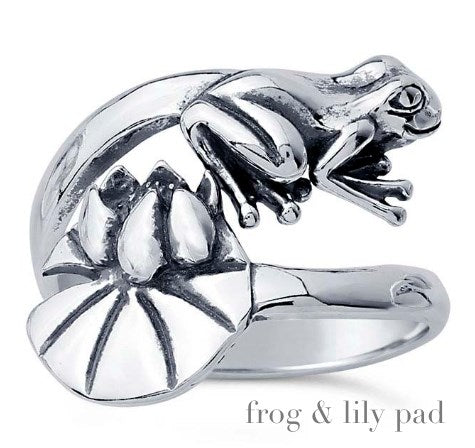 Solid Sterling Frog & Lily Pad Wrap Ring