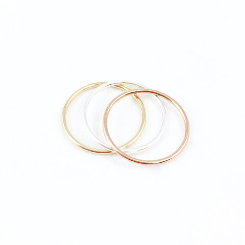 Sterling, 14K & Rose Gold Stacking Rings- SET of 3