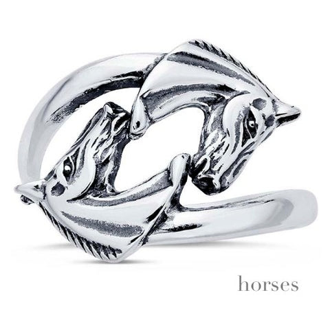Solid Sterling Horses Wrap Ring