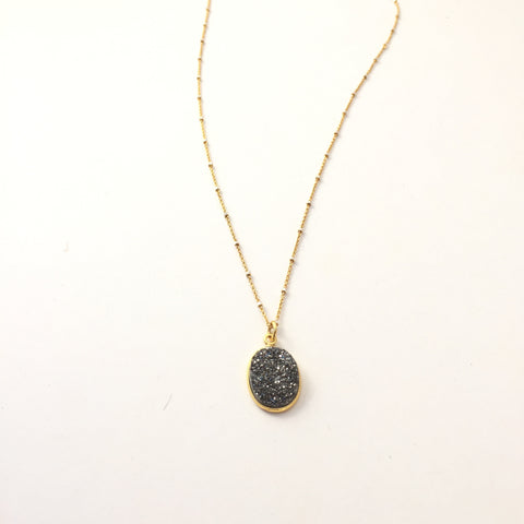 Druzy Drop Necklace 24""