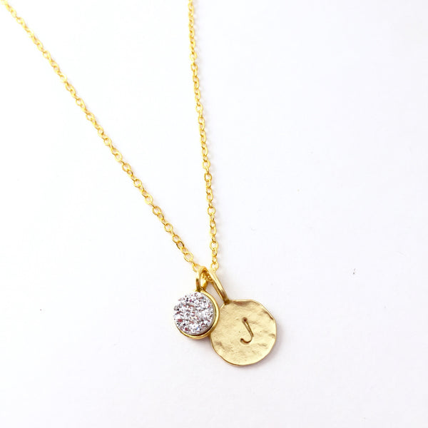 Hand Stamped Initial & Druzy Necklace