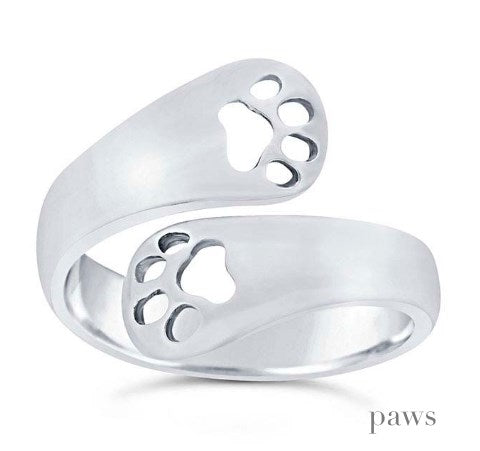 Solid Sterling Paws Wrap Ring