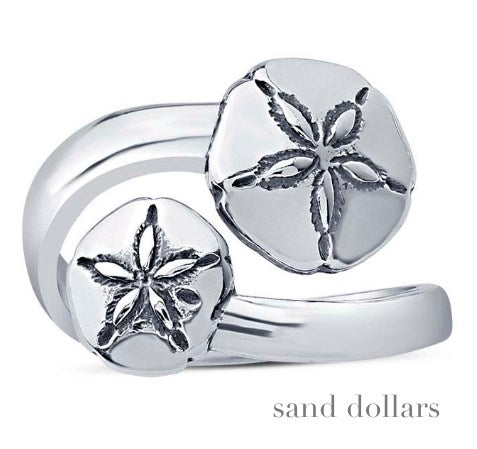 Solid Sterling Sand Dollars Wrap Ring