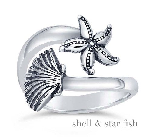 Solid Sterling Shell & Star Fish Wrap Ring