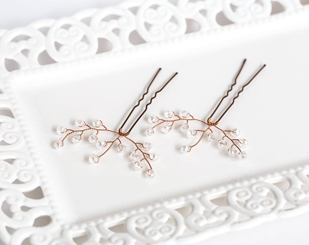 Rose gold hair pins Rose gold hair accessories Bridal hair pins White Crystal hair pins Bridal hair accessory White Rose Gold Hair Piece 823