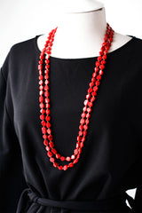Coral necklace Long necklace Red coral necklace Gold Necklace Gold Layering necklace Red necklace Layered necklace Multi strand necklace 938.