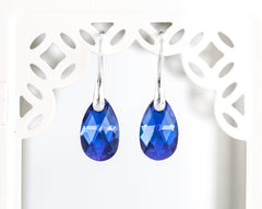 Crystal earrings Blue earrings Bridal earrings Teardrop Silver earrings SWAROVSKI crystal earrings Minimalist earrings Something blue 769.