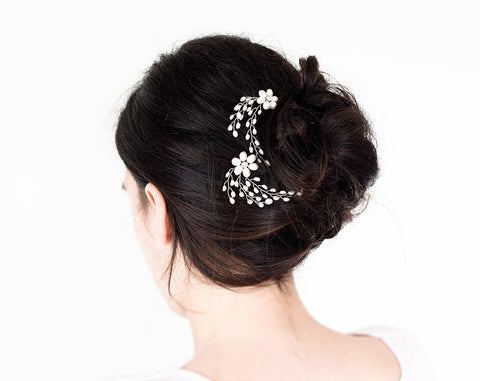 8542 White hair pins, Wedding silver Ivory pearls jewelry