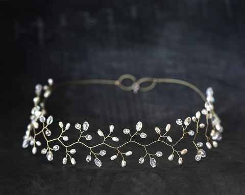 14_ Gold headpiece, Crystal diadem, White Pearl tiara.