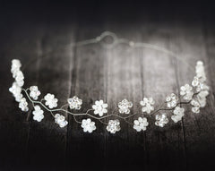 181_ Crystal flower diadem, White floral crown, Bridal diadem.