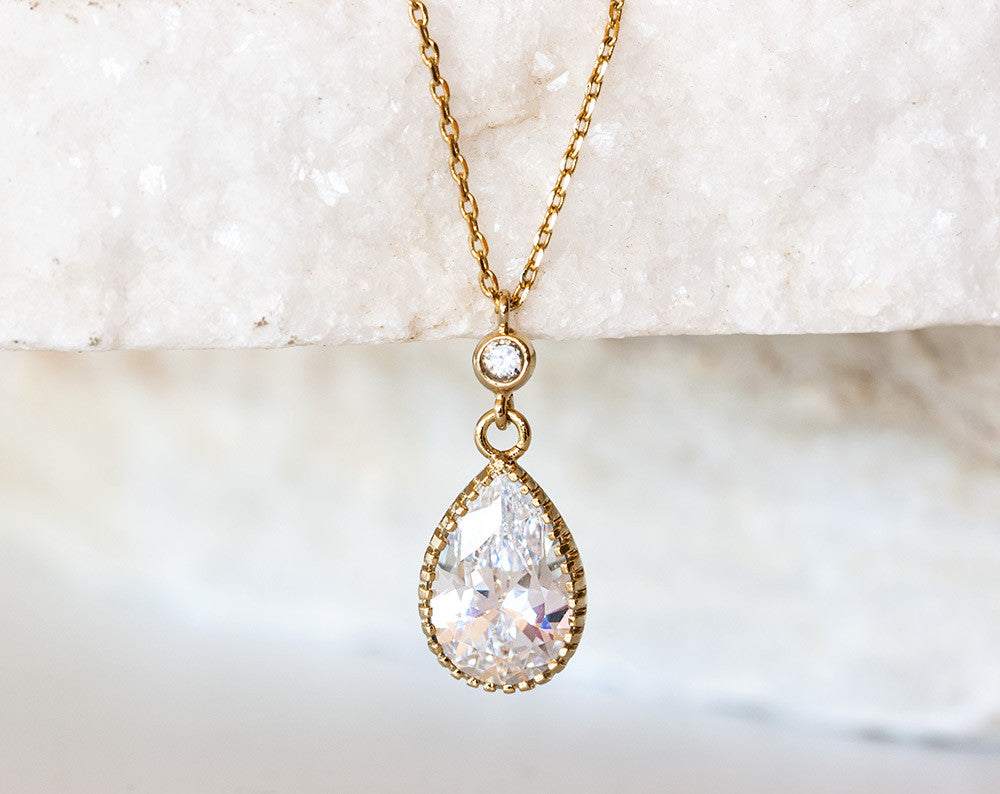 682_ Gold teardrop necklace, Wedding crystal necklace. | Arsiart