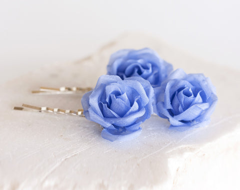 71_ Blue flower hair pins, Sky blue flowers, Blue wedding.
