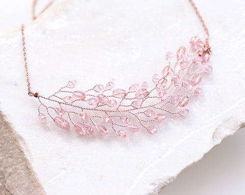 67 Peach pink crystal necklace, Rose gold bridal necklace