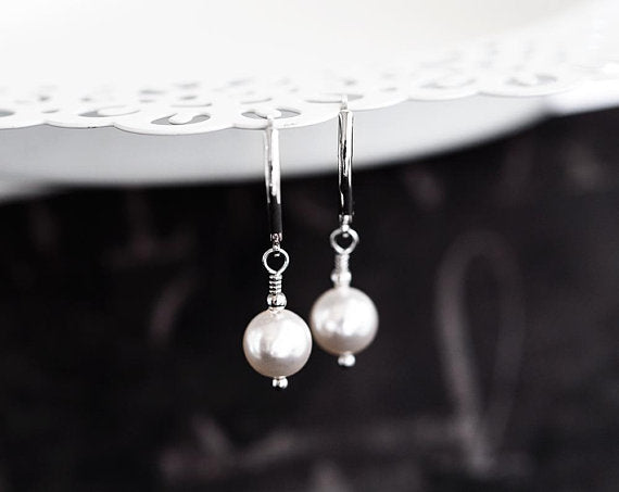 Pearl wedding earrings Leverback earrings Simple bridal earrings Simple pearls earrings White earrings Bridesmaid jewellery SWAROVSKI 893