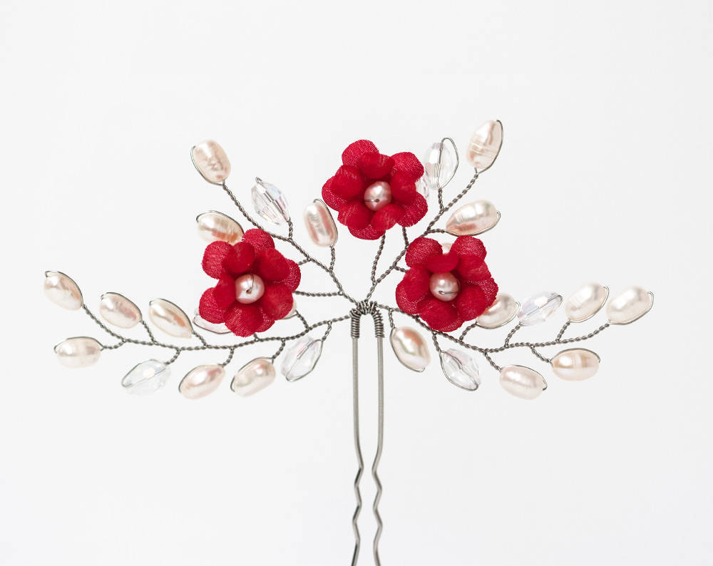672 Red flowers crystal hair pin, Silver pearls hair pin
