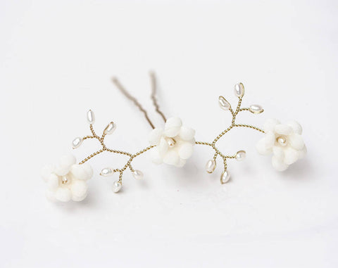 Copy of 82 Snow white flowers hair pin, Clear crystals hair pin