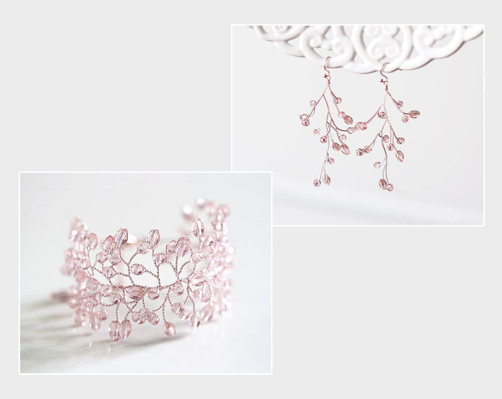 Copy of 732 Peach pink crystals set, Rose gold earrings and bracelet, Set for wedding gift