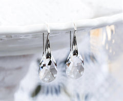 Teardrop earrings White crystals earrings Gift earrings SWAROVSKI crystal earrings Gift for her Silver gift earring Tear drop earrings 769