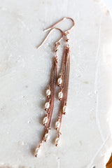 Rose gold earrings Pearls earrings Extra Long earrings Chain earrings Dangle earrings Natural pearls earrings Rose gold jewelry 64.
