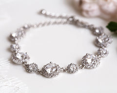Rose gold bracelet Bridal bracelet Crystal bracelet Wedding Bracelet Rose gold jewelry Bride crystals bracelet CZ bracelet Gift for her 925.