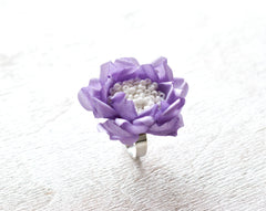 771_Flower ring, Floral ring, Purple wedding, Jewelry, Violet wedding, Gift idea, Original ring, Unique jewelry, Lilac wedding, Flower.