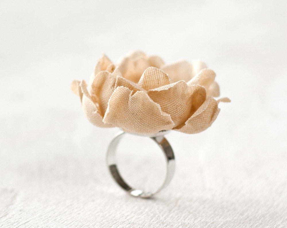 773_Cotton ring, Floral ring, Rustic ring, Fabric flower ring, Beige ring, Eco friendly jewelry, Fabric flower, Adjustable ring flower Rings
