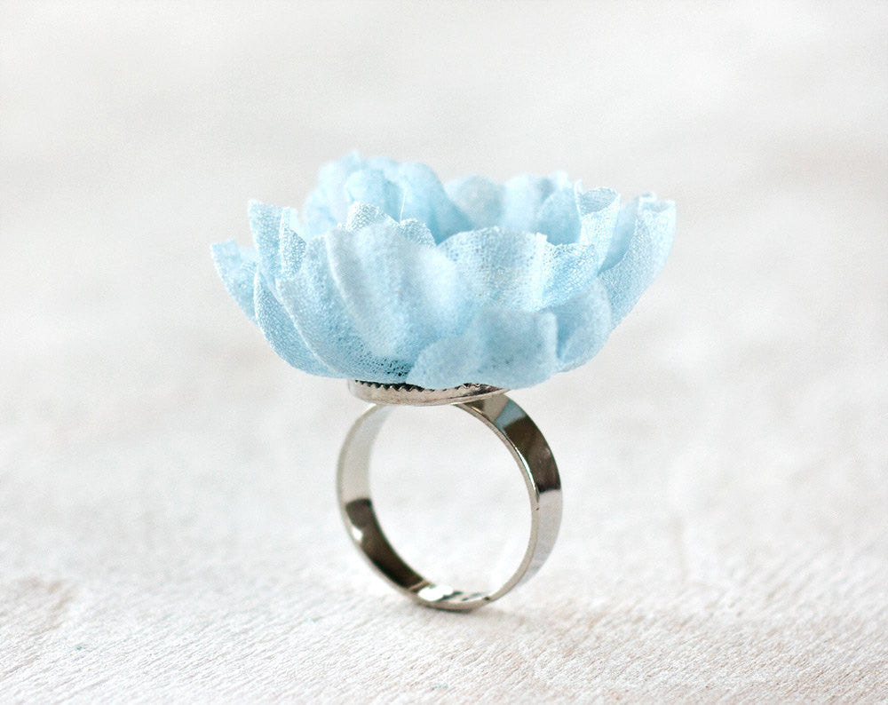 776_Blue ring, Flower ring, Fabric flower ring, Floral accessories, Bridesmaid gift, Bridesmaid jewelry, Bridesmaid accessories, Jewelry