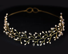 12_Gold crystal headband, Hair accessory wedding, Crown.