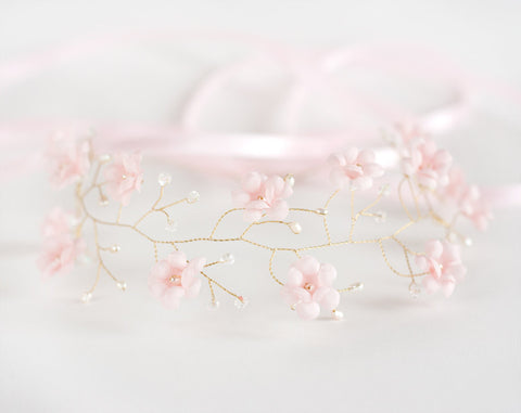 51_Pink wedding flower crown gold.