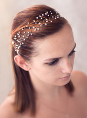 12_ Bridal Halo, Crystal headband, Pink gold hair vine.