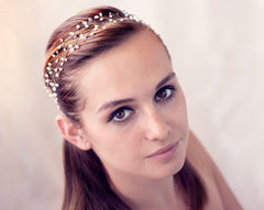 12_Pearl crown, Pearl bridal wedding tiara, Gold Head piece.