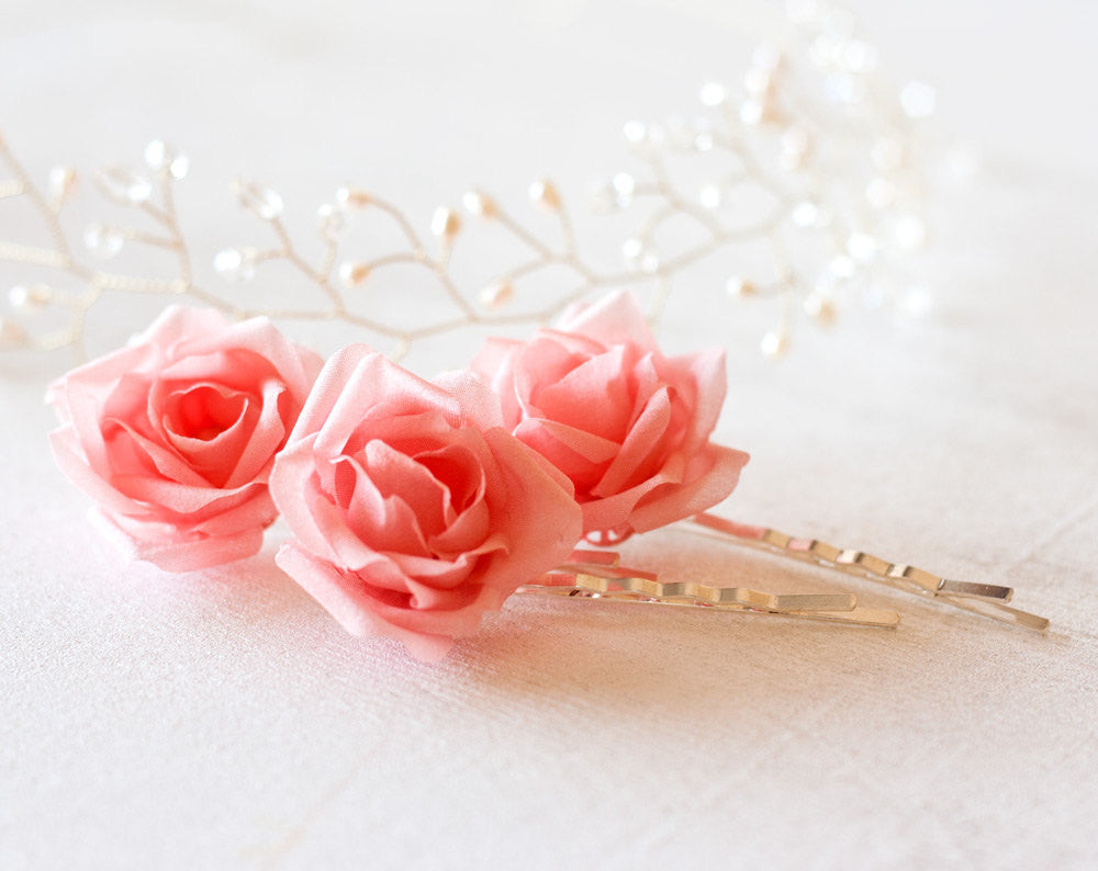 71_Bridal flower pin, Pink hair flower, Bridal headdress flower, Wedding hair flower, Flower clip, Flower bobby pin, Fabric flower pins.