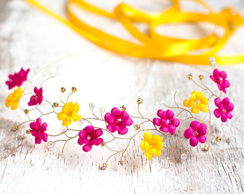 51_Bright headband, Pink flower crown