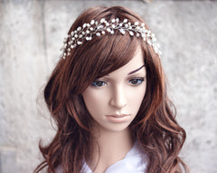 13_ Gold crown, Wedding hair accessories, Pearl tiara, Jewelry.