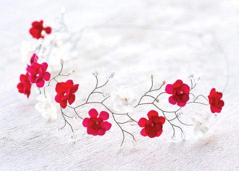 51_Flower crown, Hair accessories, Red flower crown, White flower crowns, Silver headpiece, Red hair accessories, Bridal hair accessories