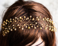 11_ Hair accessories, Orange hair piece, Gold hairband.