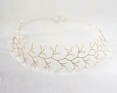 12_ Wedding headpiece, Gold crown, Bridal accessories.