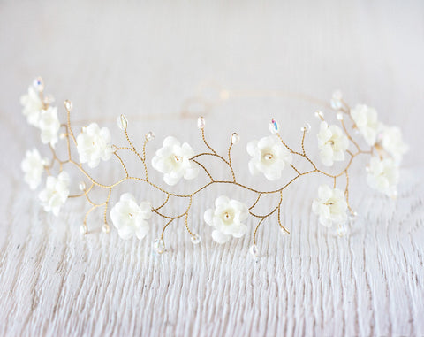 51_Ivory flower crown, Bridal tiara.