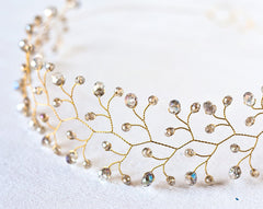 11_ Crystal crown, Gold wedding hair accessories, Hair piece.