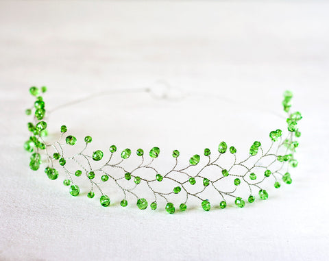 11_ Green crystal crown, Crystal headband, Green wedding.