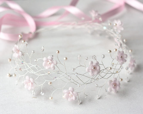 31_Pink flower crown, Bridal crown, Wedding crown, Pink bridal crown, Bridal crown, Flower bridal crown, Hair accessories, Headband, Crowns.
