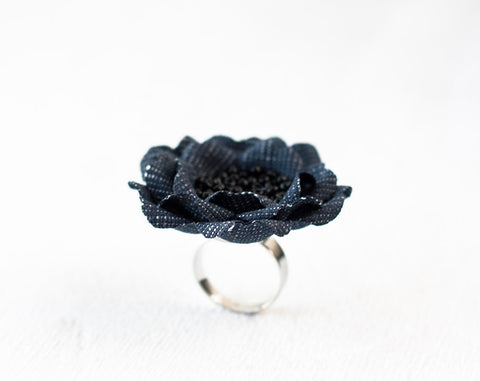 774_Rings, Jean ring, Denim ring, Blue ring, Gift for her, Jean accessories, Denim style, Blue flower ring, Floral ring, Fabric flower ring.