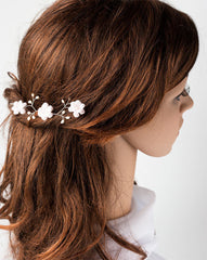 82_Floral hair pin, Hair pin flowers, Pink flower hair pins, Hair flowers, Hair accessories, Hair pins with flowers, Pearl hair pins, Bridal