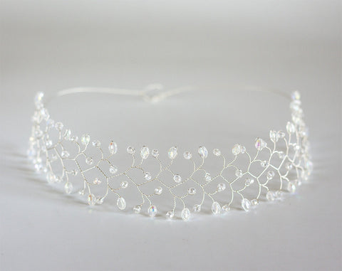 12_ Silver Hair accessories, Crystal headband, Crystal tiara.