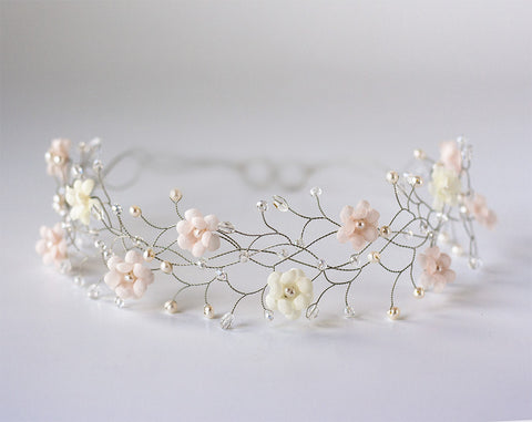 32_Wedding flower crown, Bridal hair accessories, Pink flower crown, Ivory flower tiara, Silver bridal headband, Headbands, Floral headband.