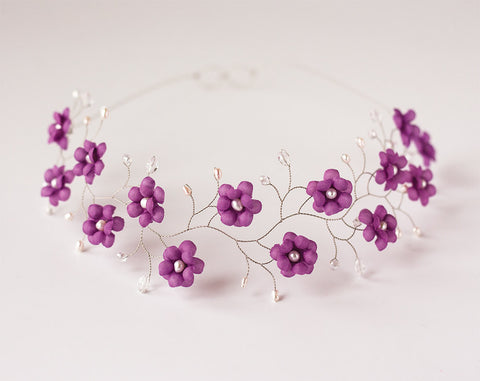 51_Violet crown, Purple flower crown.