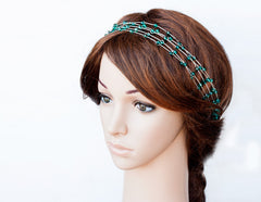 Emerald headband, Green headband, Party crown, Silver headband, Grecian hair accessories, Crystals headband, Headband crystals, Gift for her