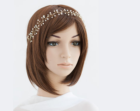 14_ Pearl headpiece, Gold bridesmaid headband, Crown.